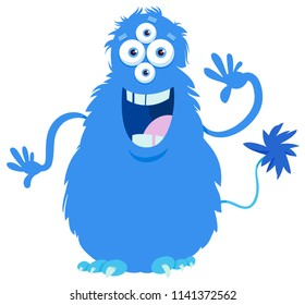 Cartoon Illustration of Funny Monster or Weird Fantasy Animal Character