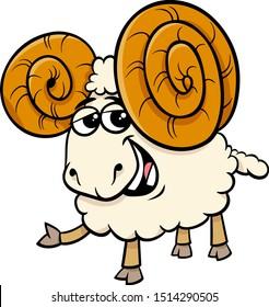 Cartoon Illustration of Funny Ram Sheep Farm Animal Character