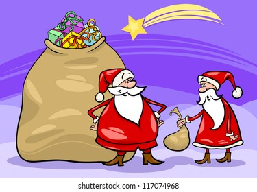 Cartoon Illustration of Funny Santa Claus or Papa Noel with Huge Sack Full of Christmas Presents and another Santa holding Very Small one