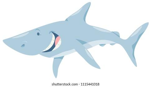 Cartoon Illustration of Funny Shark Fish Sea Animal Character