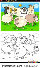 Cartoon Illustration of Funny Sheep Animal Characters Coloring Book Activity