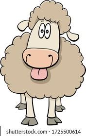 Cartoon Illustration of Funny Sheep Farm Animal Comic Character