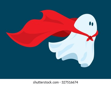 Cartoon illustration of funny super hero ghost flying with costume cape