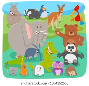 Cartoon Illustration of Funny Wild Animal Comic Characters Group