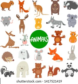Cartoon Illustration of Funny Wild Animal Characters Large Set