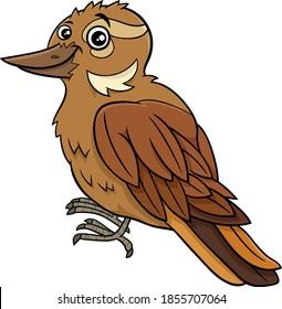 Cartoon illustration of funny xenops bird animal character