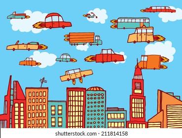 Cartoon illustration of future urban air transportation or flying cars