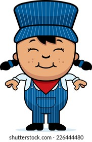 A cartoon illustration of a girl train conductor standing and smiling.