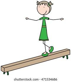 Cartoon illustration of a girl walking on a balance beam