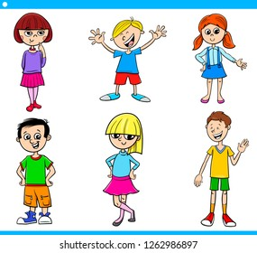 Cartoon Illustration of Girls and Boys Children and Characters Set
