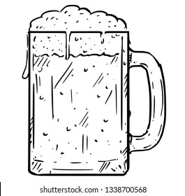 Cartoon Illustration of glass beer mug, pint half-litre or half of liter.