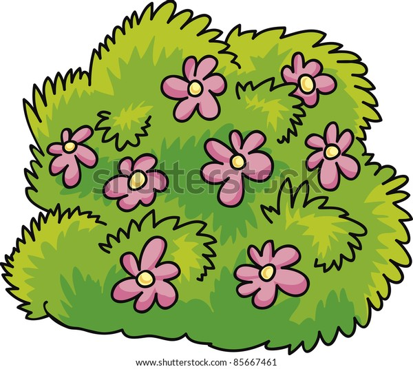 cartoon Illustration of green bush with pink flowers