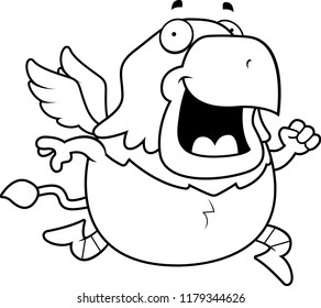 A cartoon illustration of a griffin running and smiling.