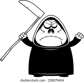 A cartoon illustration of a grim reaper looking angry.