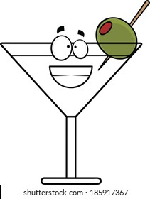 Cartoon illustration of a grinning martini with olive.