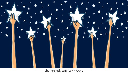 Cartoon illustration of group of hands reaching for the stars seeking success or catching dreams