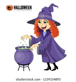Cartoon illustration of halloween witch with boiling cauldron