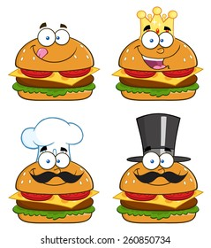 Cartoon Illustration Of Hamburger Characters.  Vector Collection Set