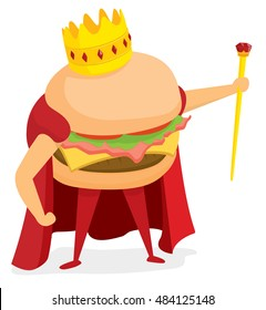 Cartoon illustration of hamburger or fast food king wearing a crown
