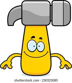 A cartoon illustration of a hammer looking happy.