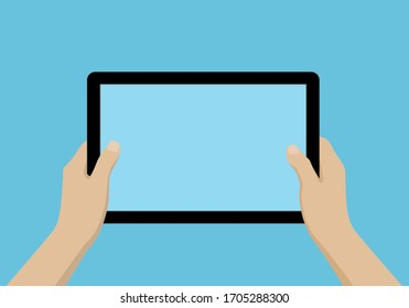 Cartoon illustration of hands holding a tablet with blank screen and space for your business text. Isolated on colored background - vector