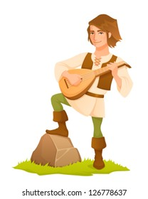cartoon illustration of a handsome medieval bard with lute
