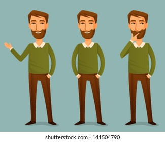 cartoon illustration of a handsome young man with beard