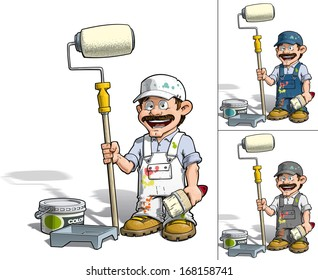Cartoon illustration of a handyman - Painter standing by a paint bucket & a paint tray, holding a paint roller. EPS10, all presented colors included in separate layers