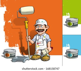 Cartoon illustration of a handyman - Painter standing by a paint bucket & a paint tray, holding a paint roller in front of a half-painted wall.  EPS10, all presented colors included in separate layers