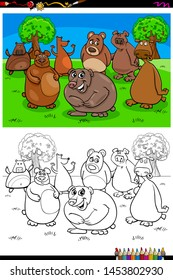 Cartoon Illustration of Happy Bears Animal Characters Coloring Book Activity