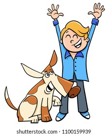 Cartoon Illustration of Happy Boy with Funny Dog or Puppy