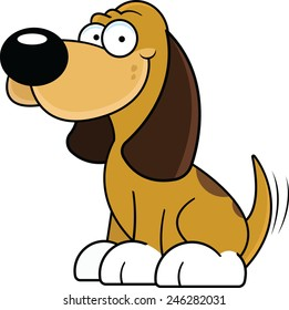 Cartoon illustration of a happy brown dog wagging his tail.
