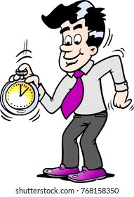Cartoon illustration of a happy business man looking at a stopwatch
