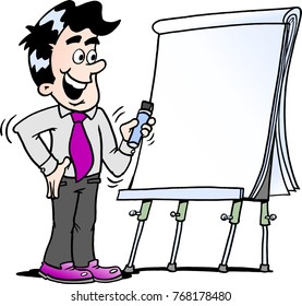 Cartoon illustration of a happy business man standing and looking by a flipchart