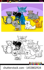 Cartoon Illustration of Happy Cats Animal Characters Coloring Book Activity