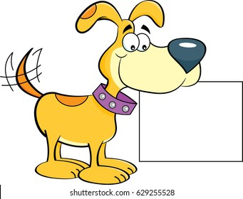 Cartoon illustration of a happy dog holding a sign.