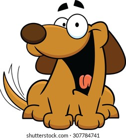 Cartoon illustration of a happy dog wagging its tail.