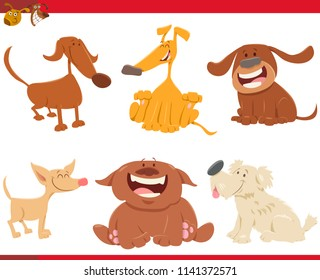 Cartoon Illustration of Happy Dogs Animal Characters Set