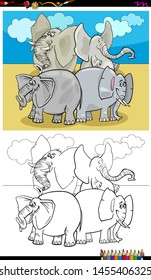 Cartoon Illustration of Happy Elephants Animal Characters Coloring Book Activity