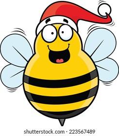 Cartoon illustration of a happy festive bee with a Santa hat.