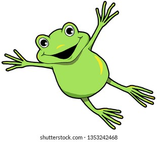 Cartoon illustration of a happy frog making a big leap