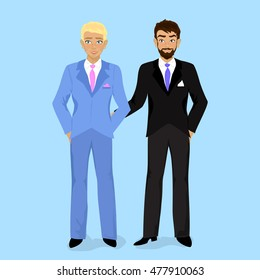 Cartoon illustration of happy gay wedding couple on blue background. Just married couple. Vector