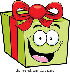 Cartoon illustration of a happy gift
