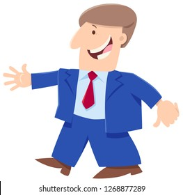 Cartoon Illustration of Happy Man or Businessman Funny Character
