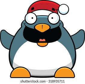Cartoon illustration of a happy penguin wearing a Santa hat.