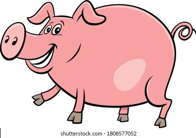 Cartoon Illustration of Happy Pig Comic Farm Animal Character