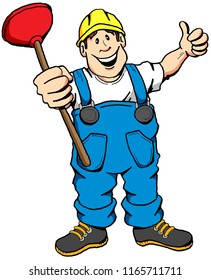 A cartoon illustration of a happy plumber with a plunger