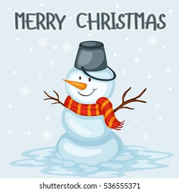 Cartoon Illustration of a Happy Snowman. Merry Christmas