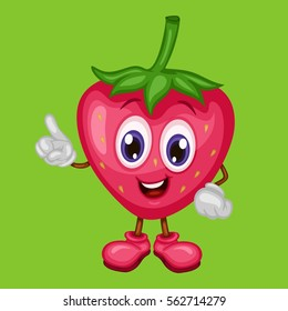 Cartoon Illustration of a Happy Strawberry Pointing Up With Finger