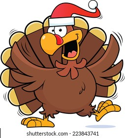 Cartoon illustration of a happy turkey wearing a Santa hat.